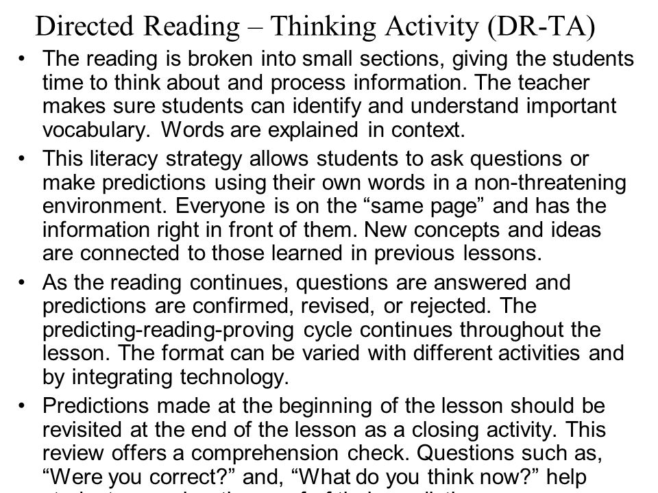 Directed Reading – Thinking Activity (DR-TA)