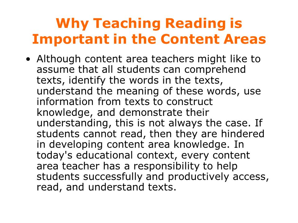 Why Teaching Reading is Important in the Content Areas