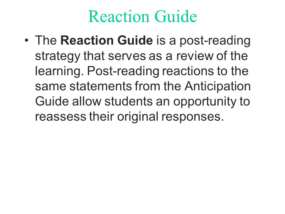 Reaction Guide