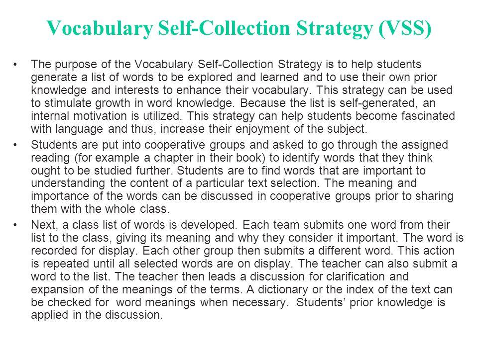 Vocabulary Self-Collection Strategy (VSS)