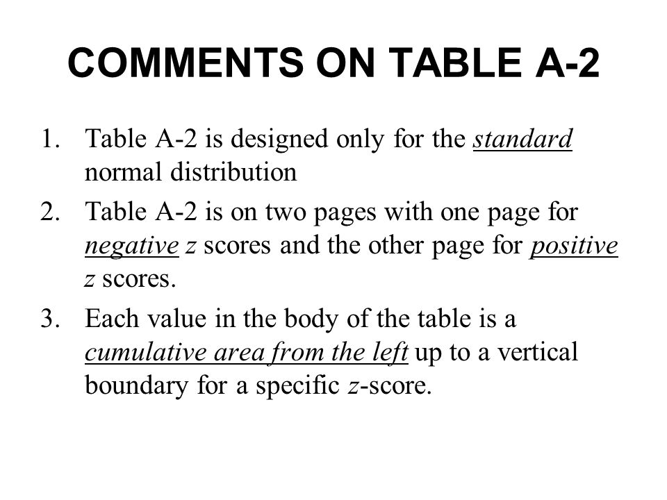 COMMENTS ON TABLE A-2 Table A-2 is designed only for the standard normal distribution.