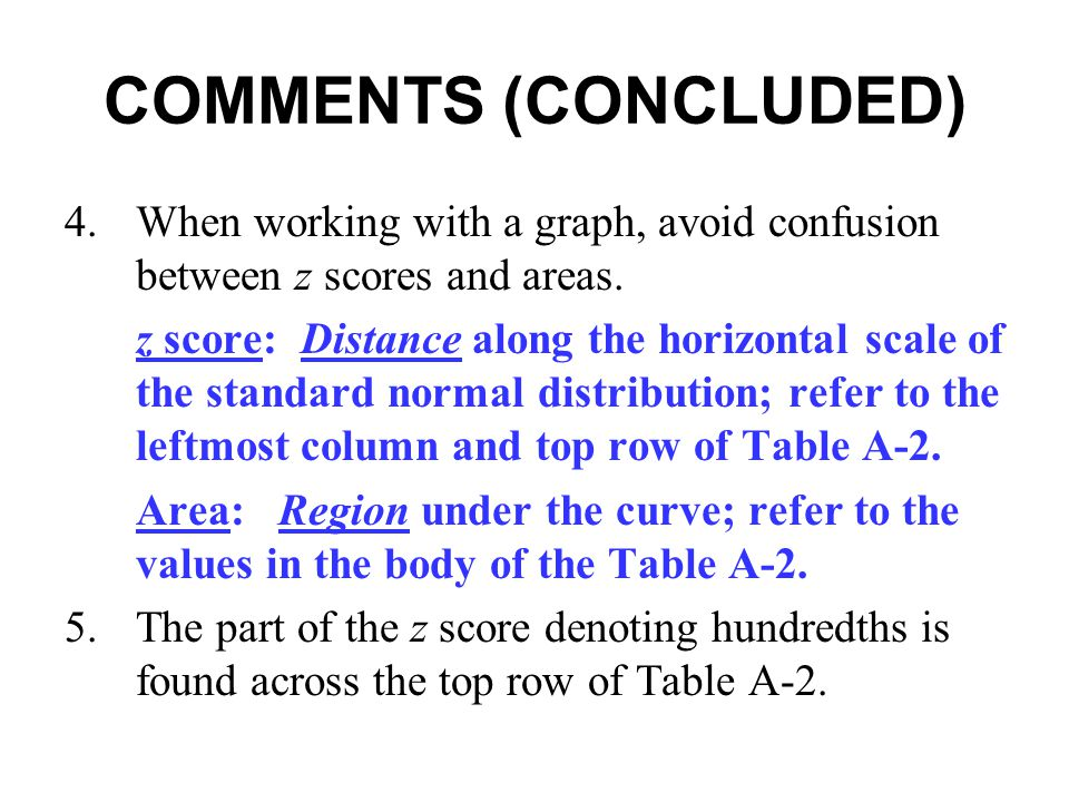 COMMENTS (CONCLUDED) 4. When working with a graph, avoid confusion between z scores and areas.