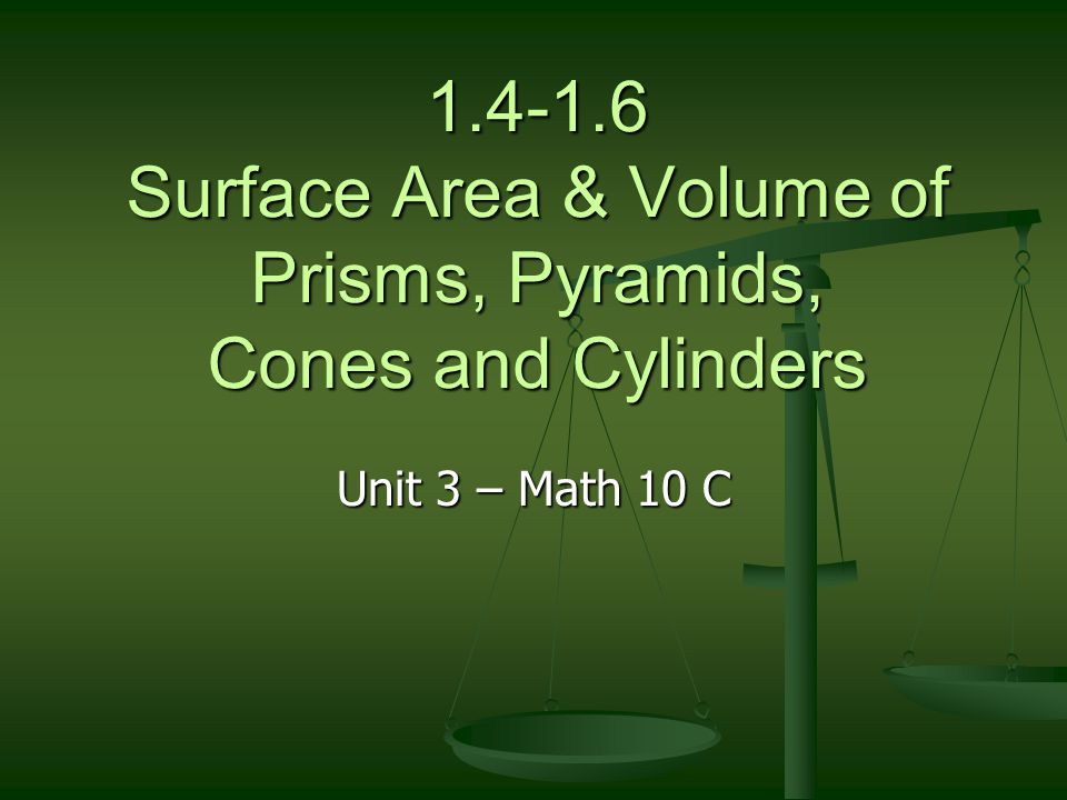 1.4-1.6 Surface Area & Volume of Prisms, Pyramids, Cones and Cylinders
