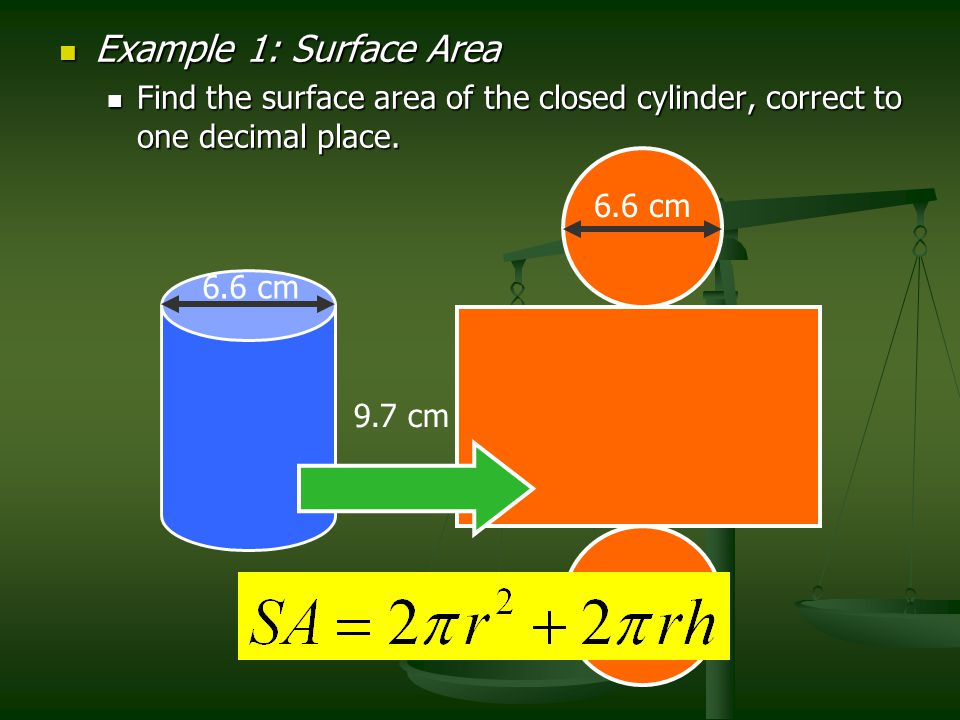 Example 1: Surface Area Find the surface area of the closed cylinder, correct to one decimal place.