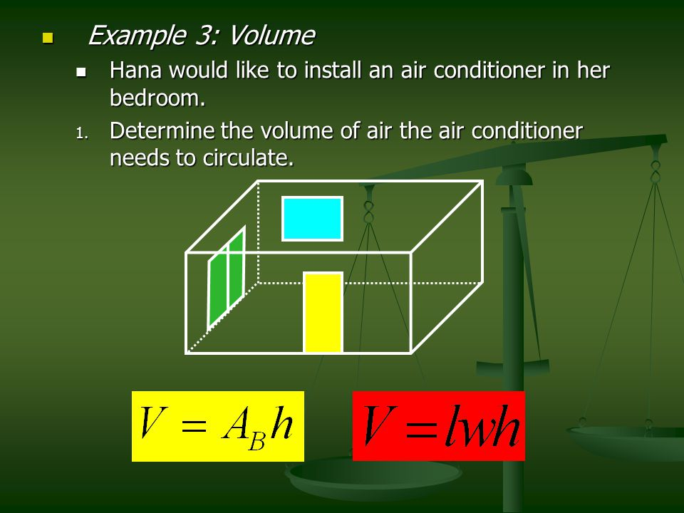 Example 3: Volume Hana would like to install an air conditioner in her bedroom.