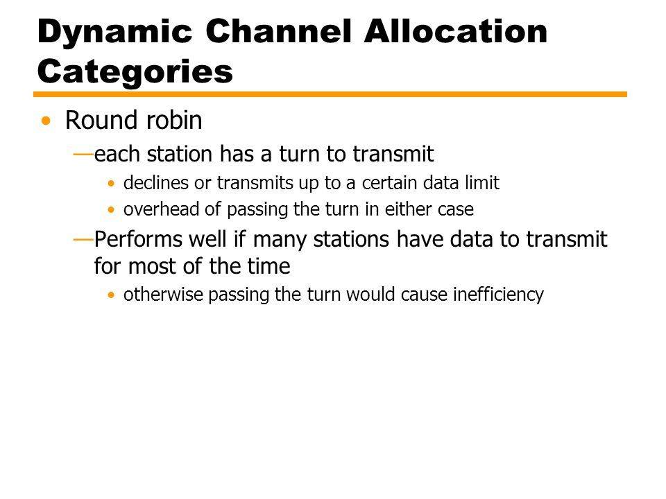 Dynamic Channel Allocation Categories