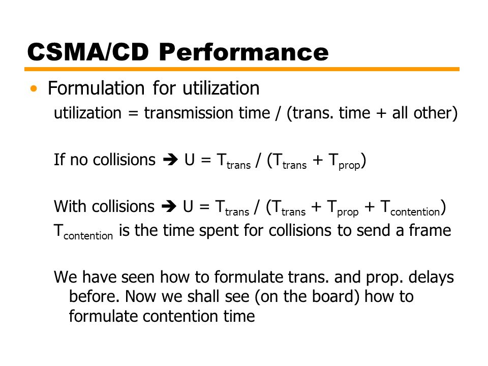 CSMA/CD Performance Formulation for utilization