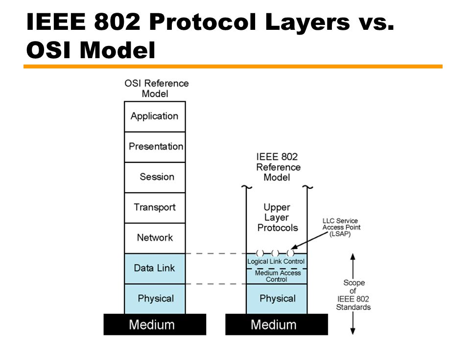 IEEE 802 Protocol Layers vs. OSI Model