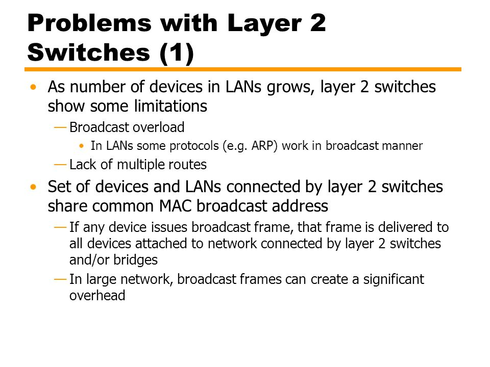 Problems with Layer 2 Switches (1)