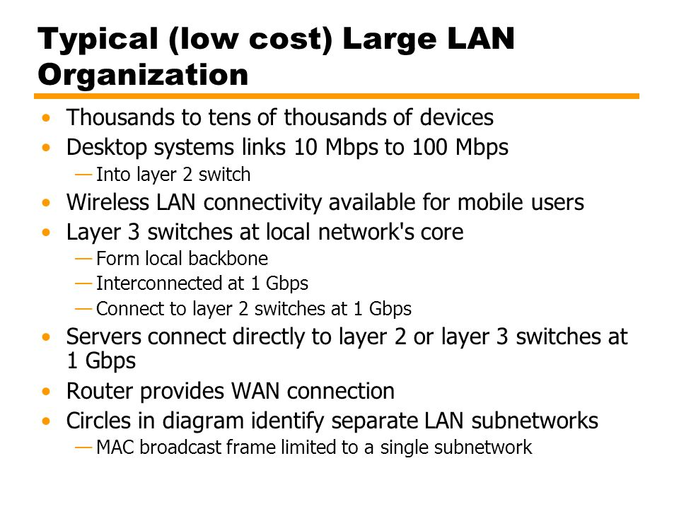 Typical (low cost) Large LAN Organization