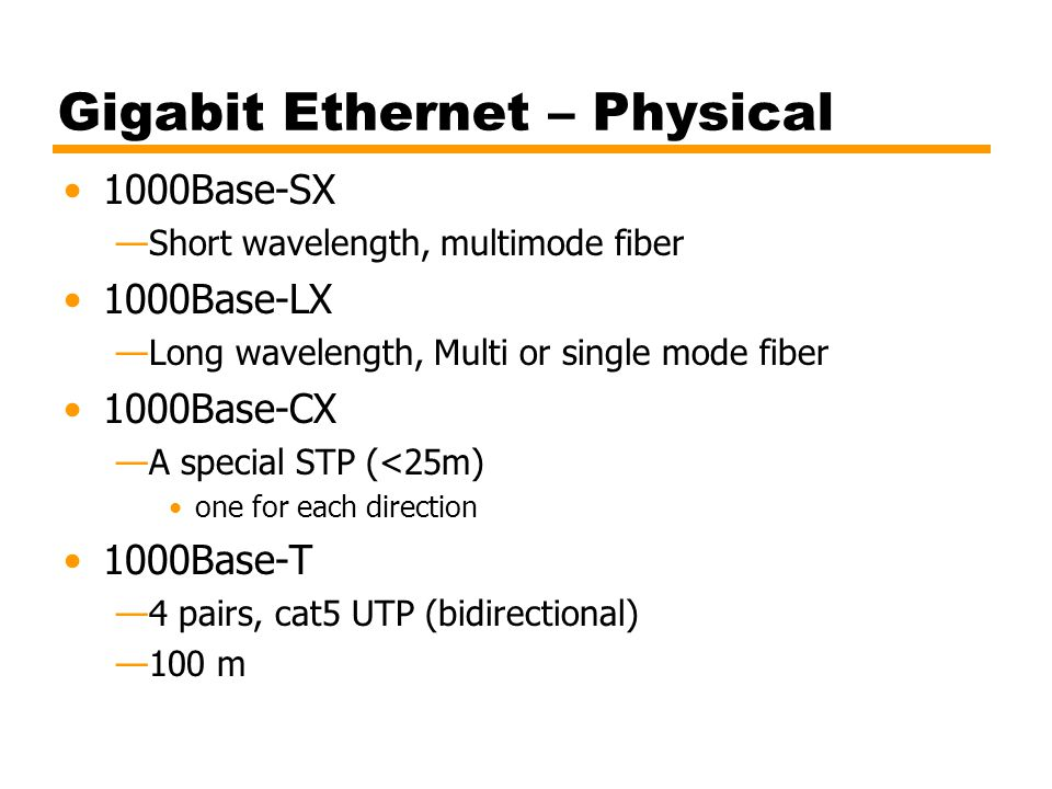 Gigabit Ethernet – Physical
