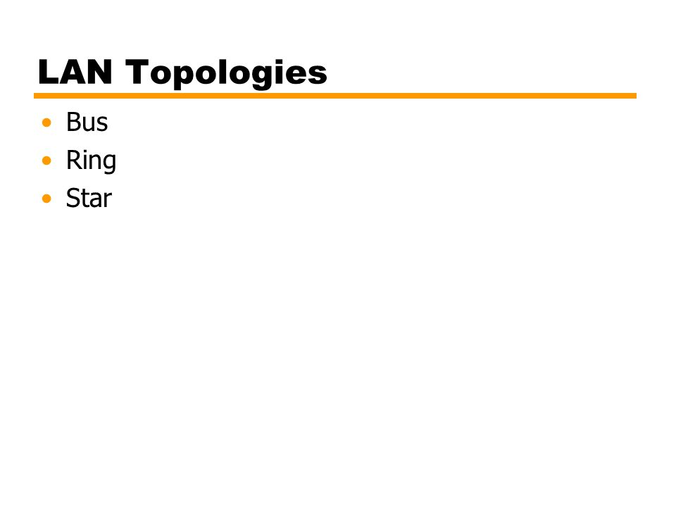 LAN Topologies Bus Ring Star
