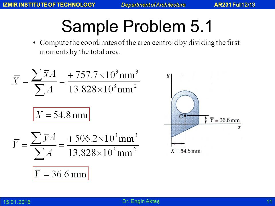 Sample Problem 5.1 Compute the coordinates of the area centroid by dividing the first moments by the total area.