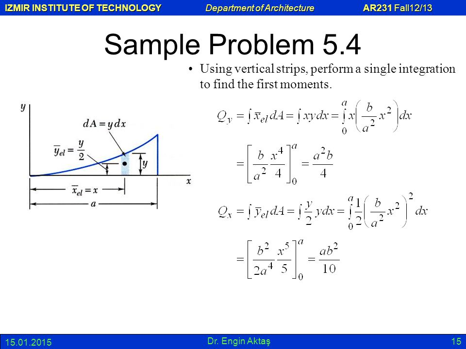Sample Problem 5.4 Using vertical strips, perform a single integration to find the first moments. 08.04.2017.
