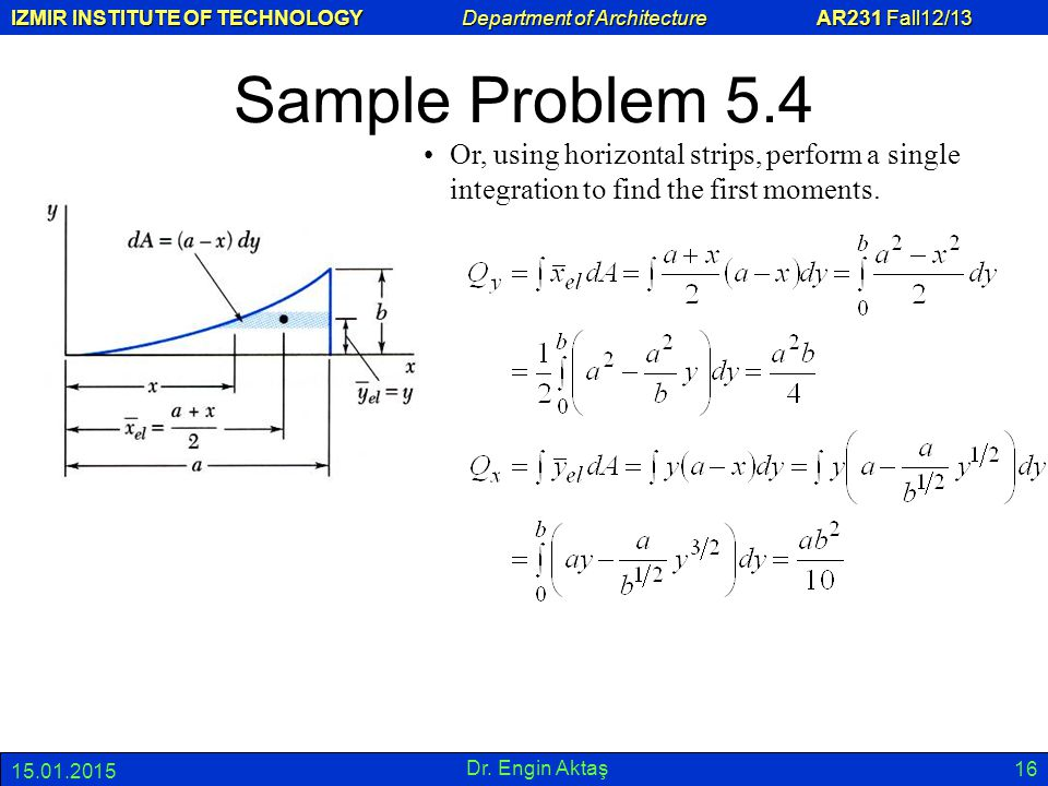 Sample Problem 5.4 Or, using horizontal strips, perform a single integration to find the first moments.