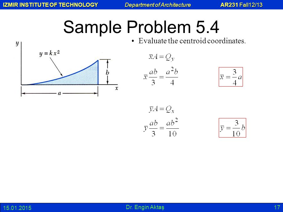 Sample Problem 5.4 Evaluate the centroid coordinates. 08.04.2017