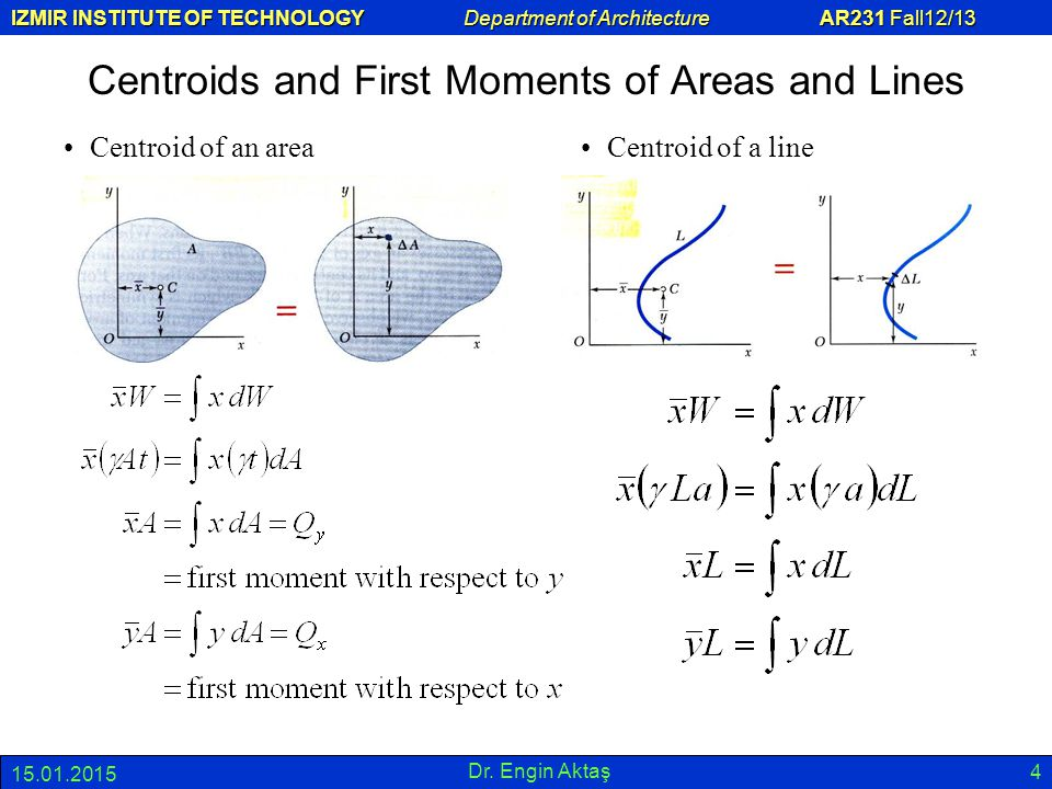 Centroids and First Moments of Areas and Lines