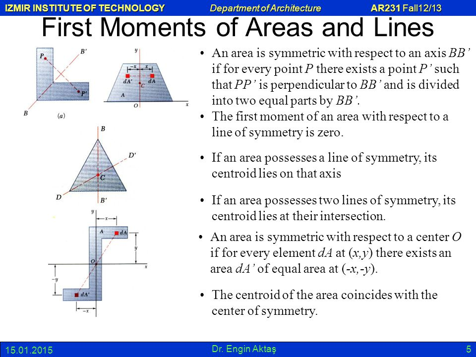 First Moments of Areas and Lines