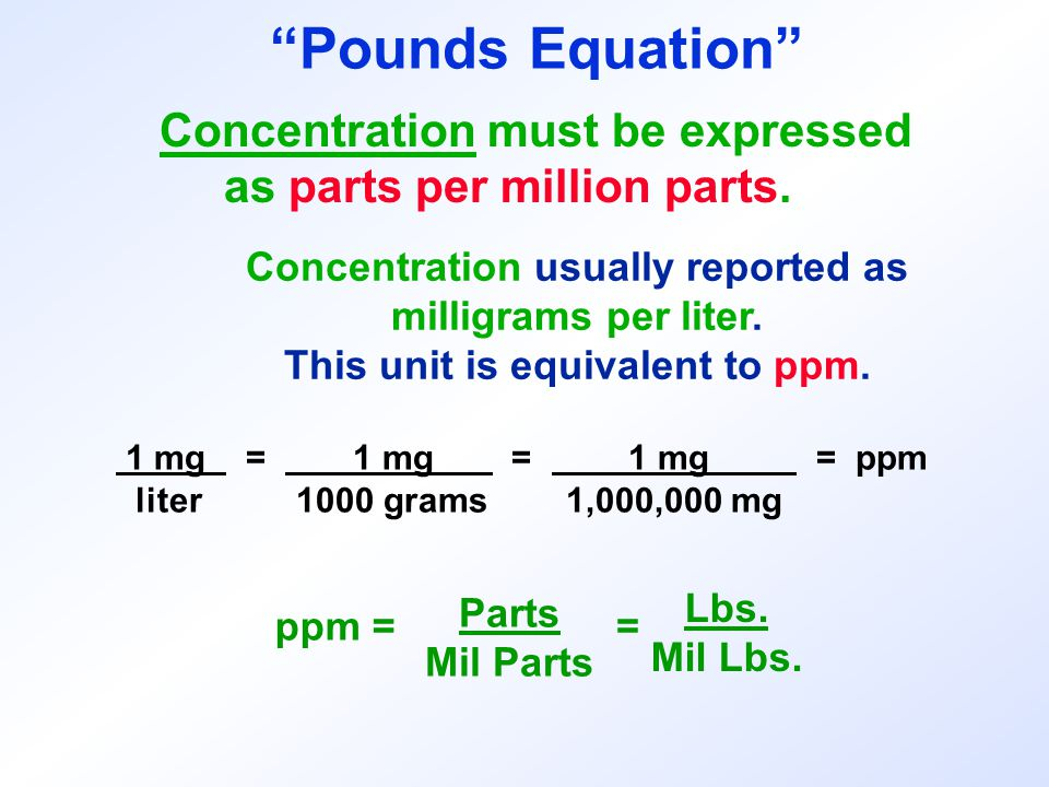 Concentration usually reported as This unit is equivalent to ppm.