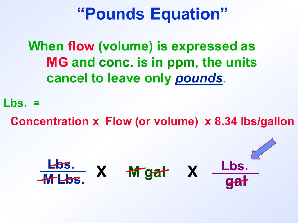 Pounds Equation X X M gal gal When flow (volume) is expressed as