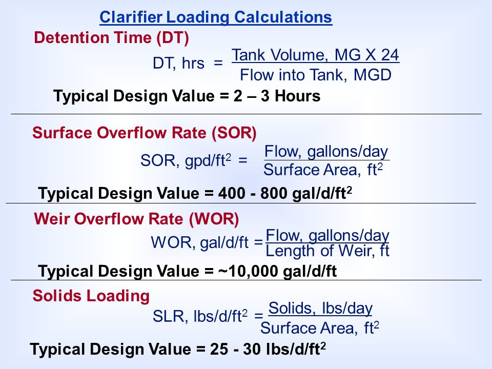 Clarifier Loading Calculations
