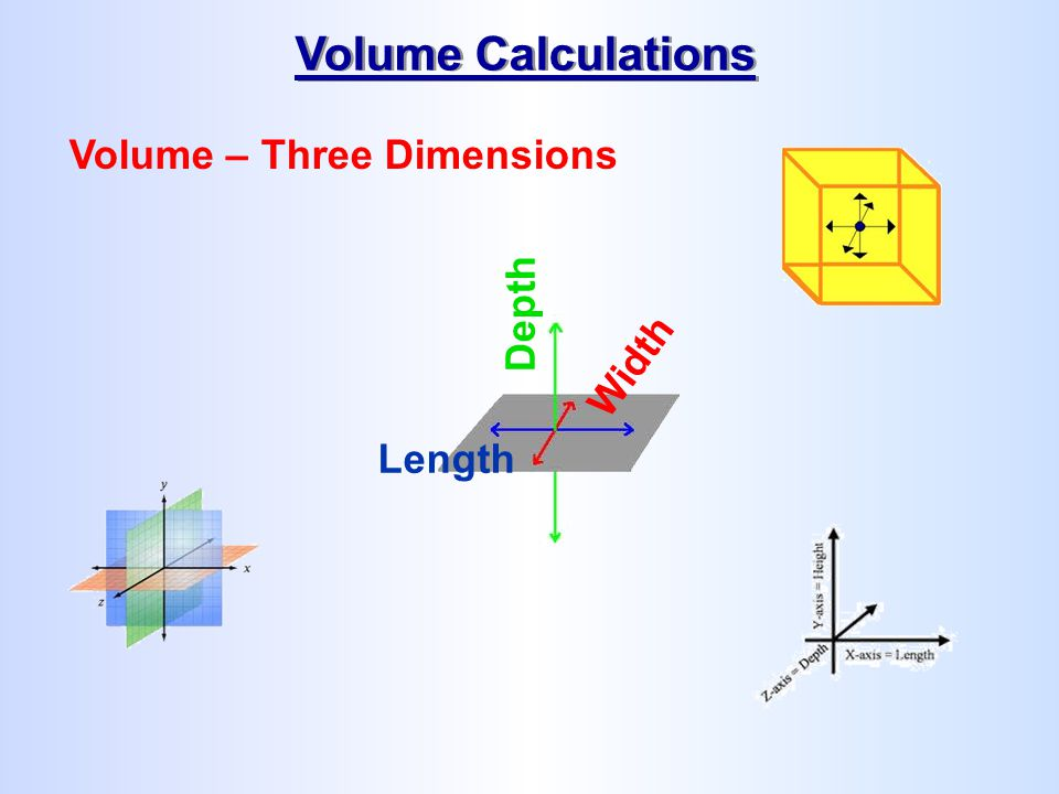 Volume Calculations Volume – Three Dimensions Depth Width Length