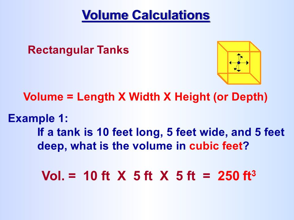 Volume Calculations Vol. = 10 ft X 5 ft X 5 ft = 250 ft3