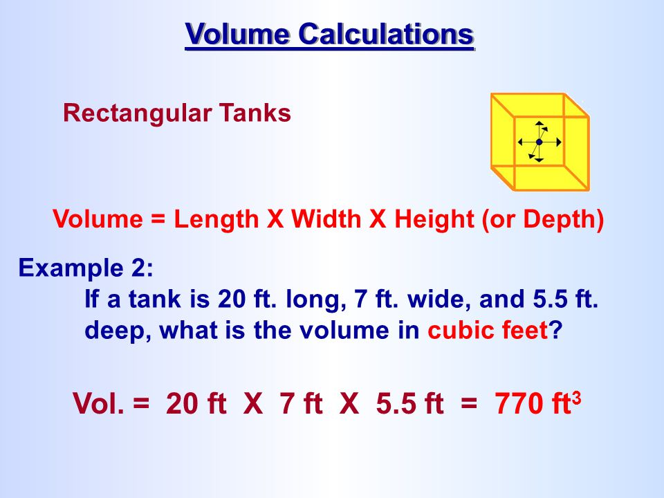 Volume Calculations Vol. = 20 ft X 7 ft X 5.5 ft = 770 ft3