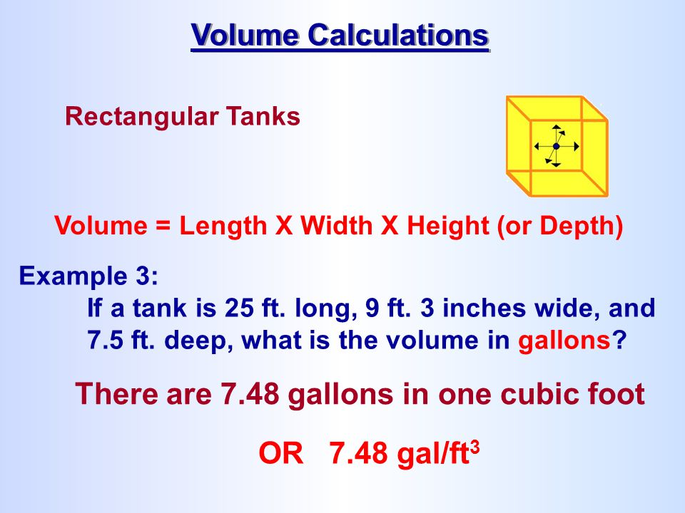 There are 7.48 gallons in one cubic foot