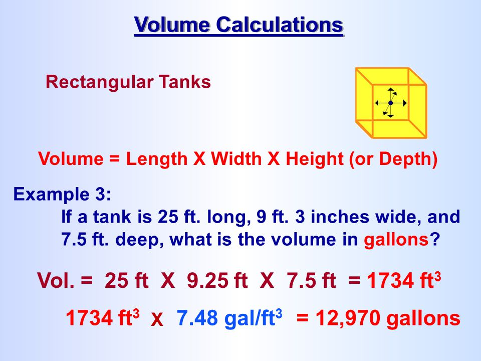 Volume Calculations Vol. = 25 ft X 9.25 ft X 7.5 ft = 1734 ft3