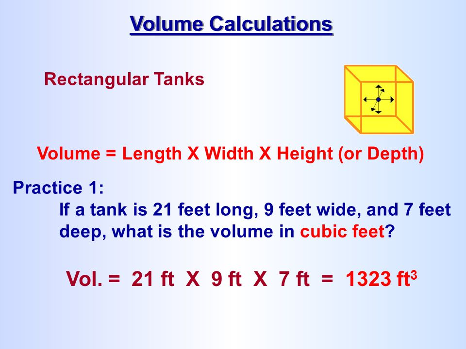 Volume Calculations Vol. = 21 ft X 9 ft X 7 ft = 1323 ft3