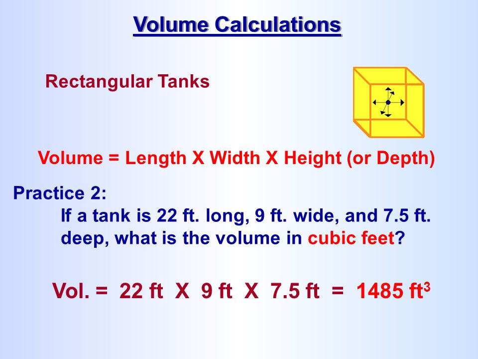 Volume Calculations Vol. = 22 ft X 9 ft X 7.5 ft = 1485 ft3