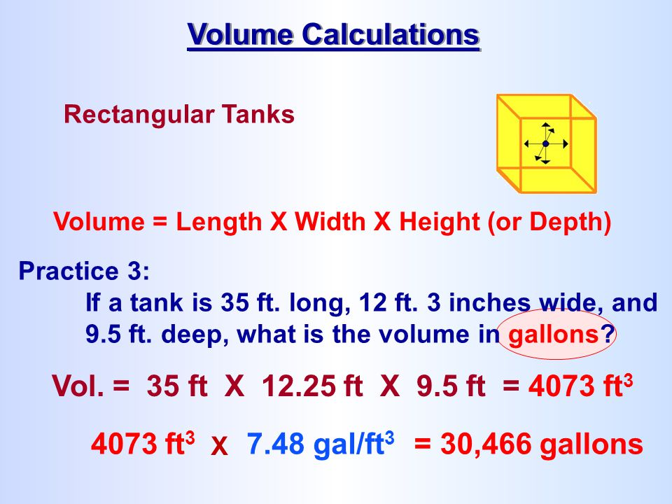 Volume Calculations Vol. = 35 ft X 12.25 ft X 9.5 ft = 4073 ft3