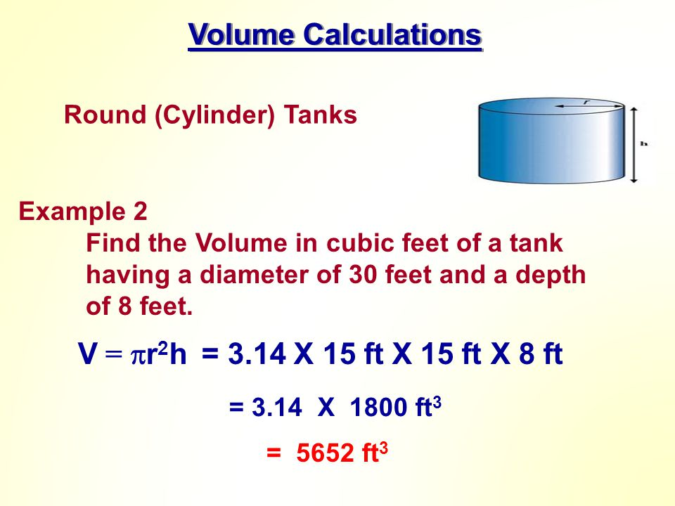 Volume Calculations V = r2h = 3.14 X 15 ft X 15 ft X 8 ft