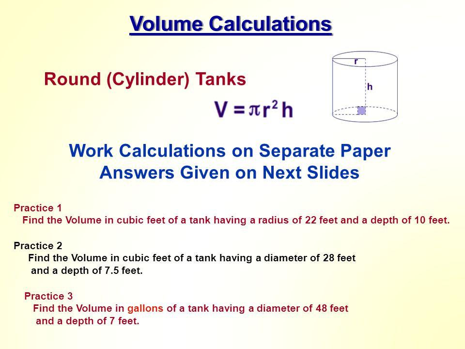 Work Calculations on Separate Paper Answers Given on Next Slides