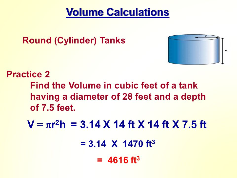 Volume Calculations V = r2h = 3.14 X 14 ft X 14 ft X 7.5 ft