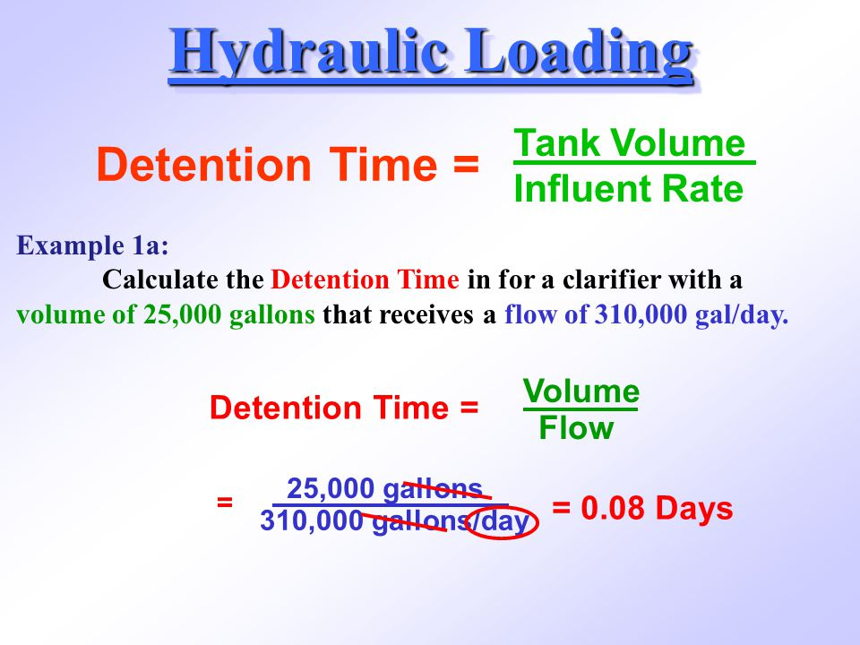 Hydraulic Loading Detention Time = Tank Volume Influent Rate Volume