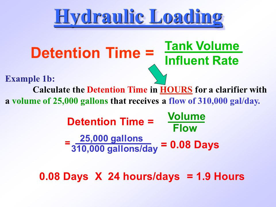 Hydraulic Loading Detention Time = Tank Volume Influent Rate