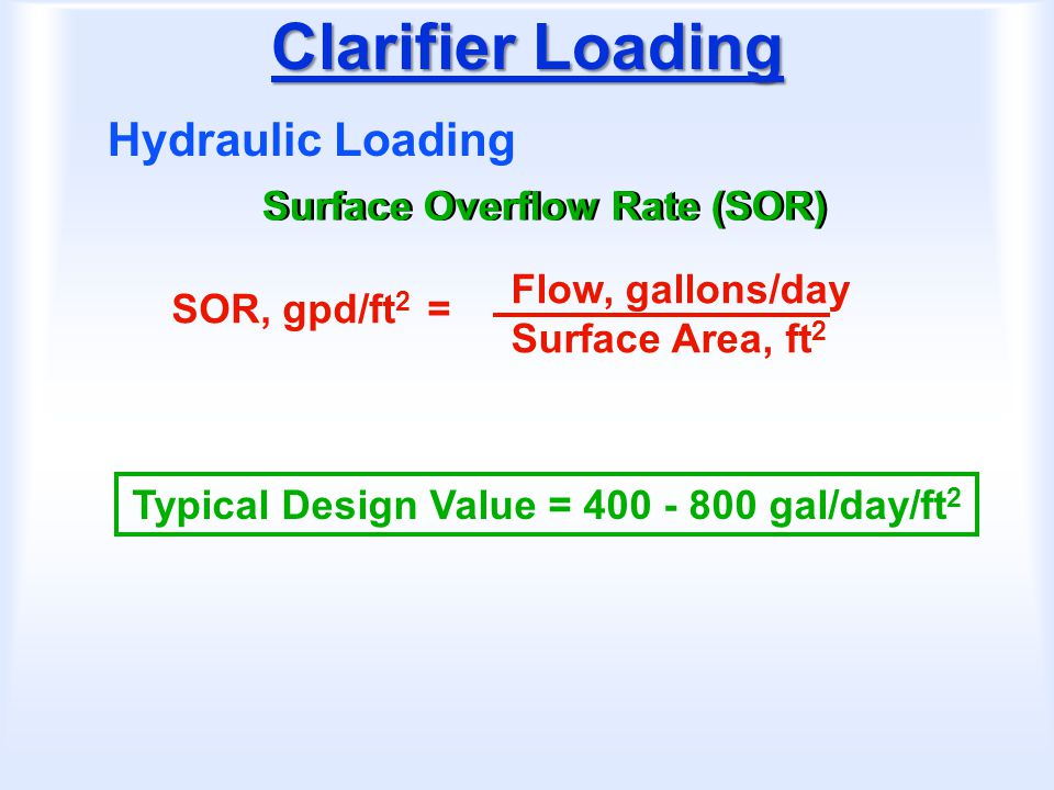 Clarifier Loading Hydraulic Loading Surface Overflow Rate (SOR)