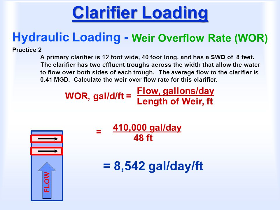 Clarifier Loading Hydraulic Loading - = 8,542 gal/day/ft