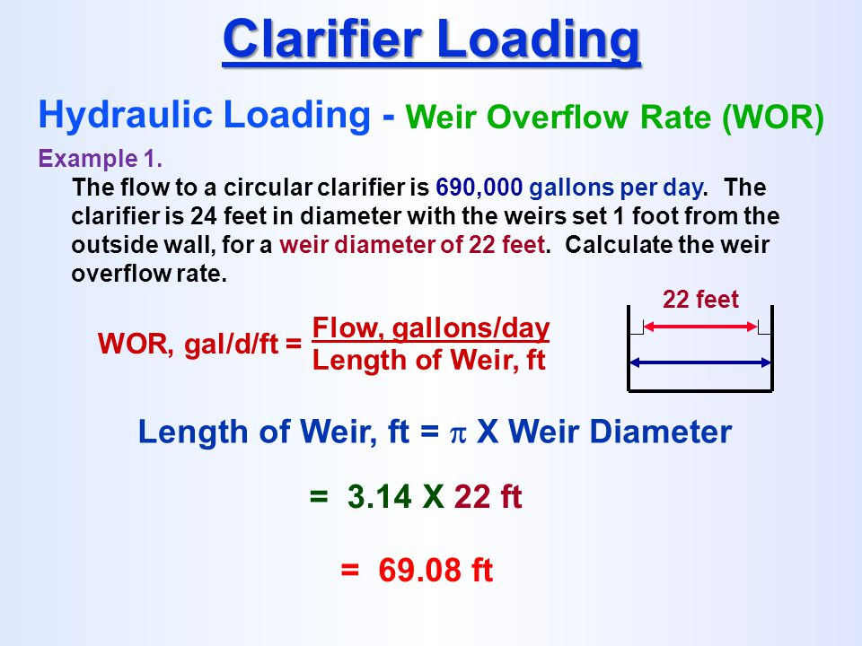 Clarifier Loading Hydraulic Loading - Weir Overflow Rate (WOR)