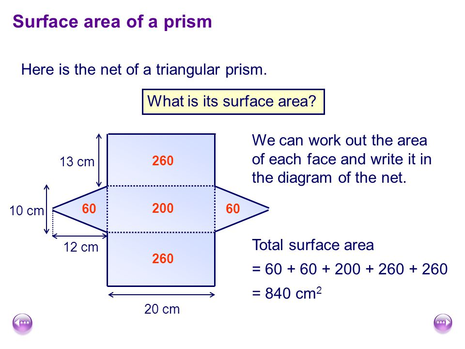Surface area of a prism Here is the net of a triangular prism.