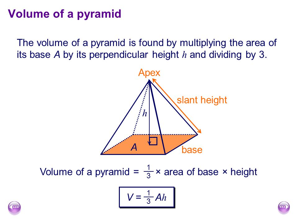 Volume of a pyramid The volume of a pyramid is found by multiplying the area of its base A by its perpendicular height h and dividing by 3.