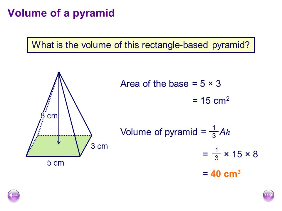 What is the volume of this rectangle-based pyramid