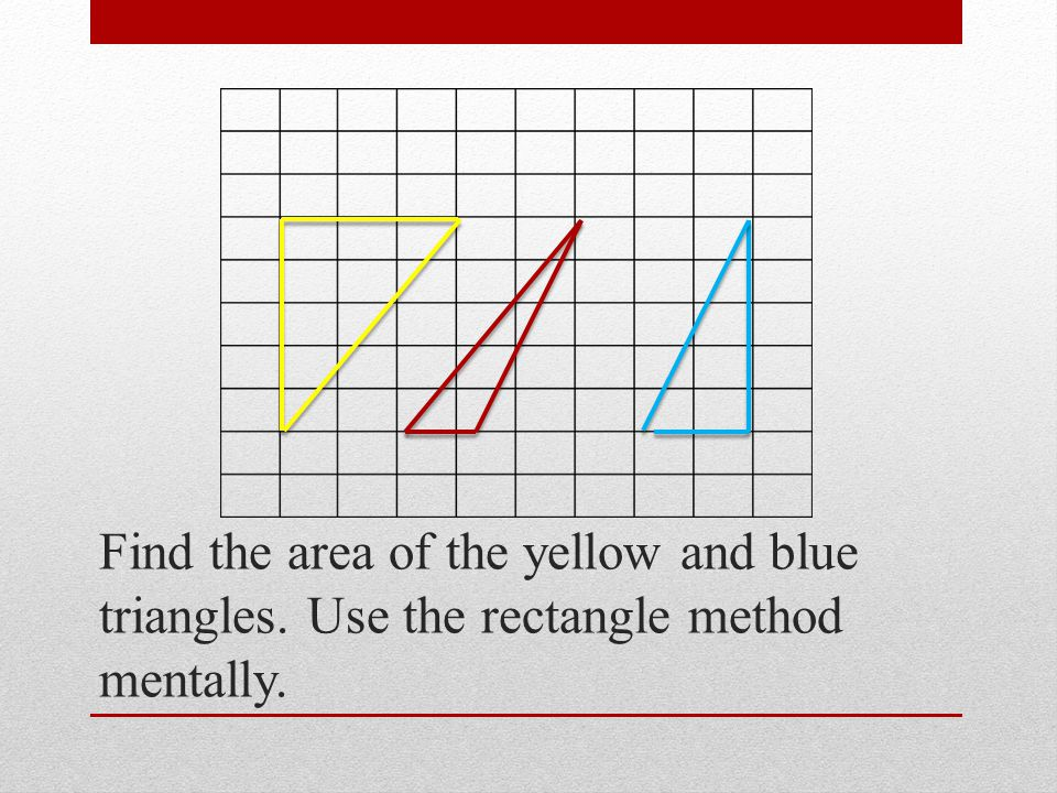 Find the area of the yellow and blue triangles