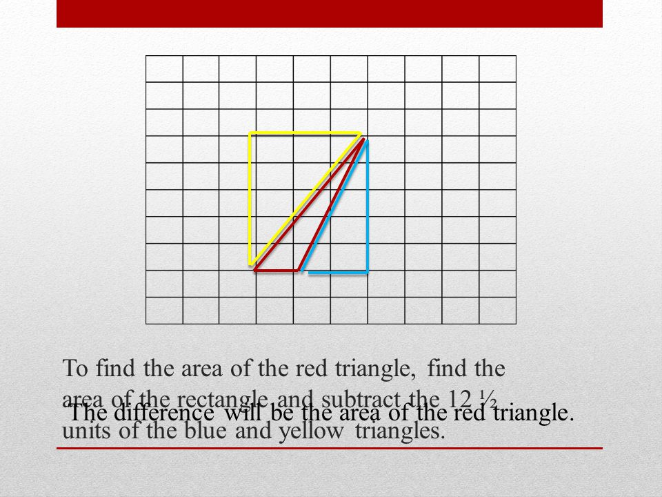 To find the area of the red triangle, find the area of the rectangle and subtract the 12 ½ units of the blue and yellow triangles.