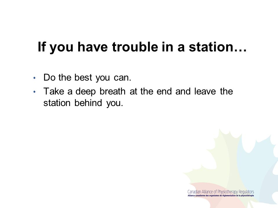 If you have trouble in a station…
