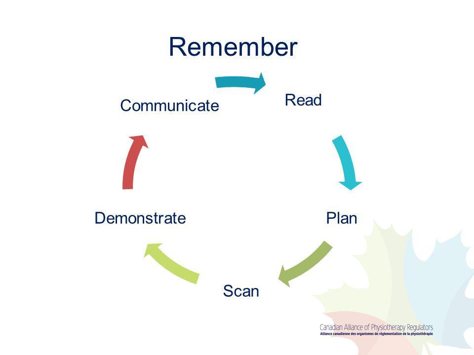 Remember Read Plan Scan Demonstrate Communicate