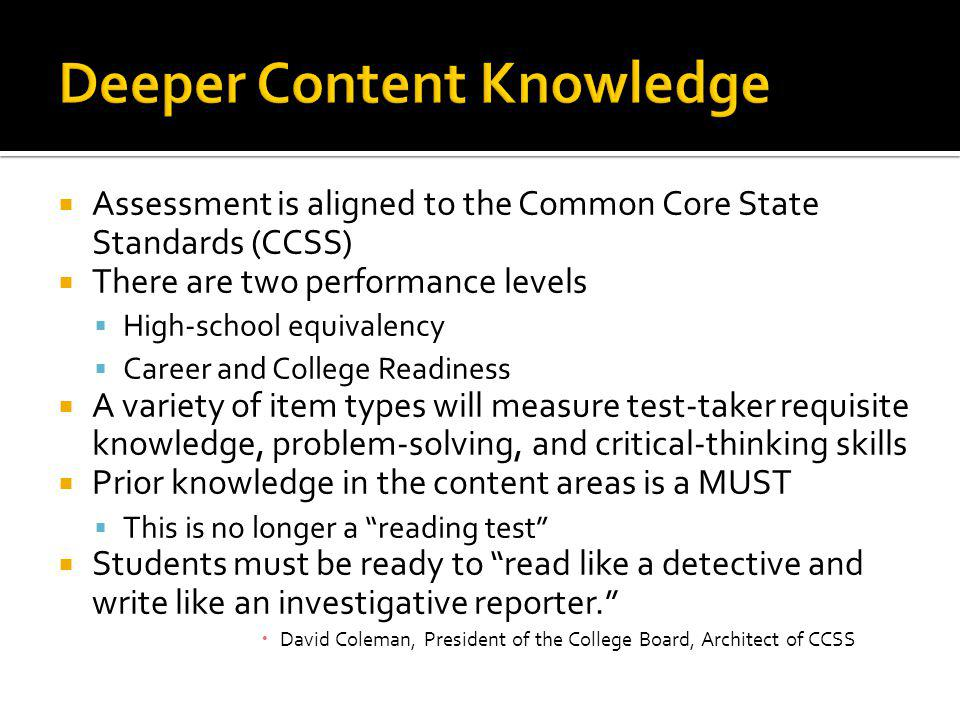 Deeper Content Knowledge