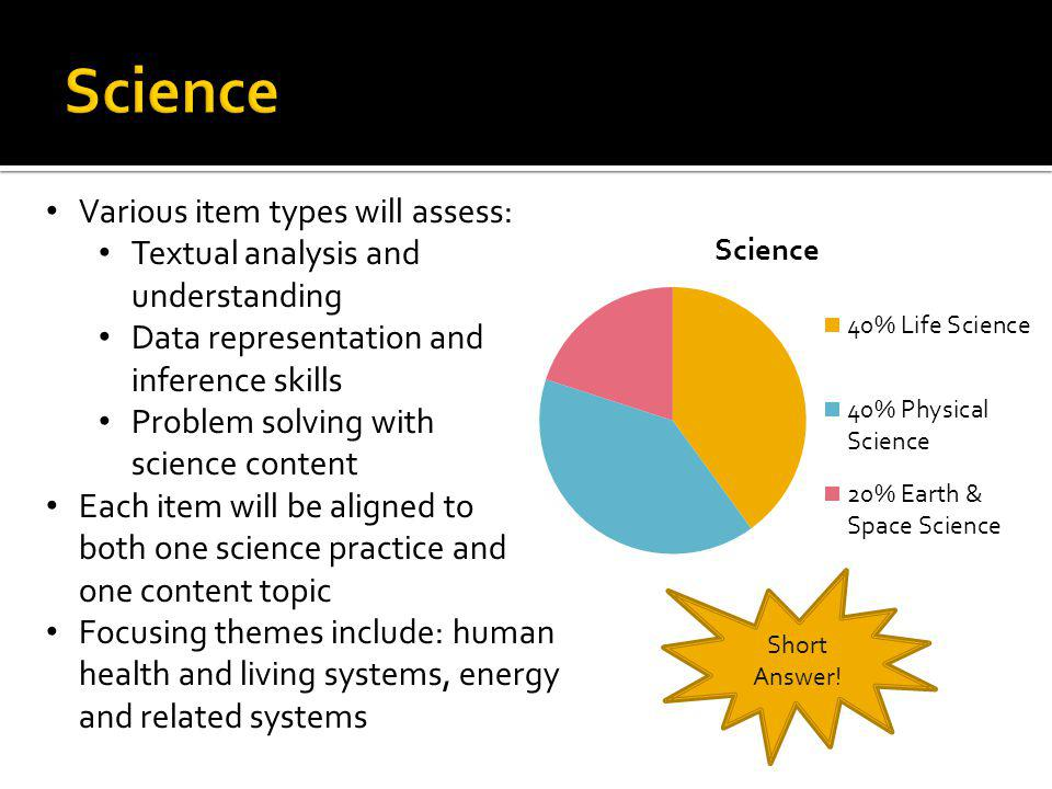 Science Various item types will assess: